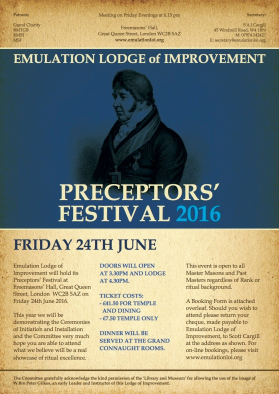 Emulation Lodge Preceptors' Festival Flyer 2016
